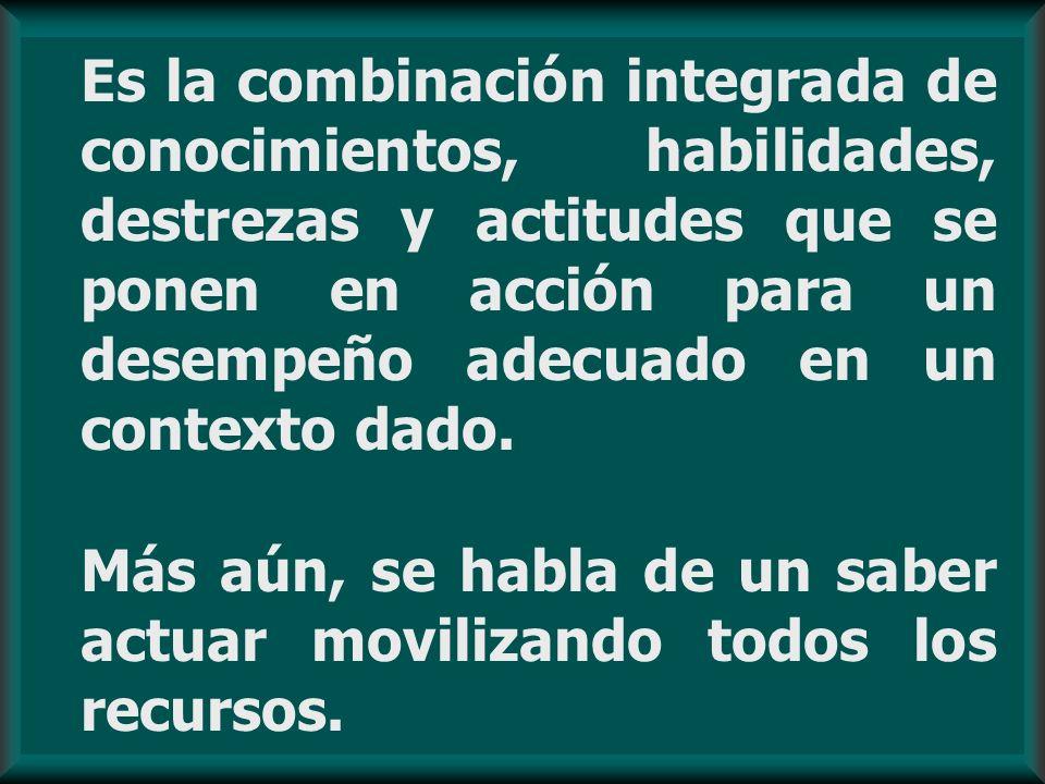 Es la combinación integrada de conocimientos, habilidades, destrezas y actitudes que se ponen en acción para un desempeño adecuado en un contexto dado