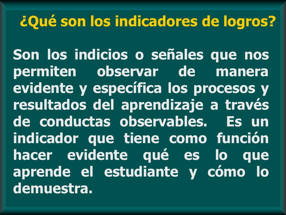 ¿Qué son los indicadores de logros? Son los indicios o señales que nos permiten observar de manera evidente y específica los procesos y resultados del