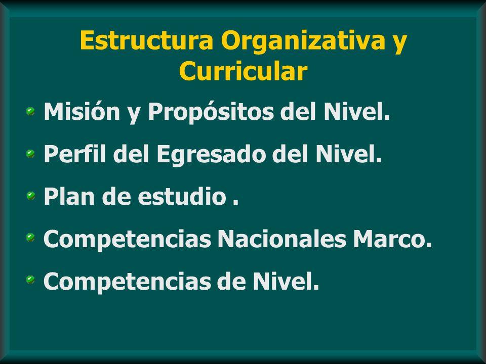 Estructura Organizativa y Curricular Misión y Propósitos del Nivel. Perfil del Egresado del Nivel. Plan de estudio. Competencias Nacionales Marco. Com