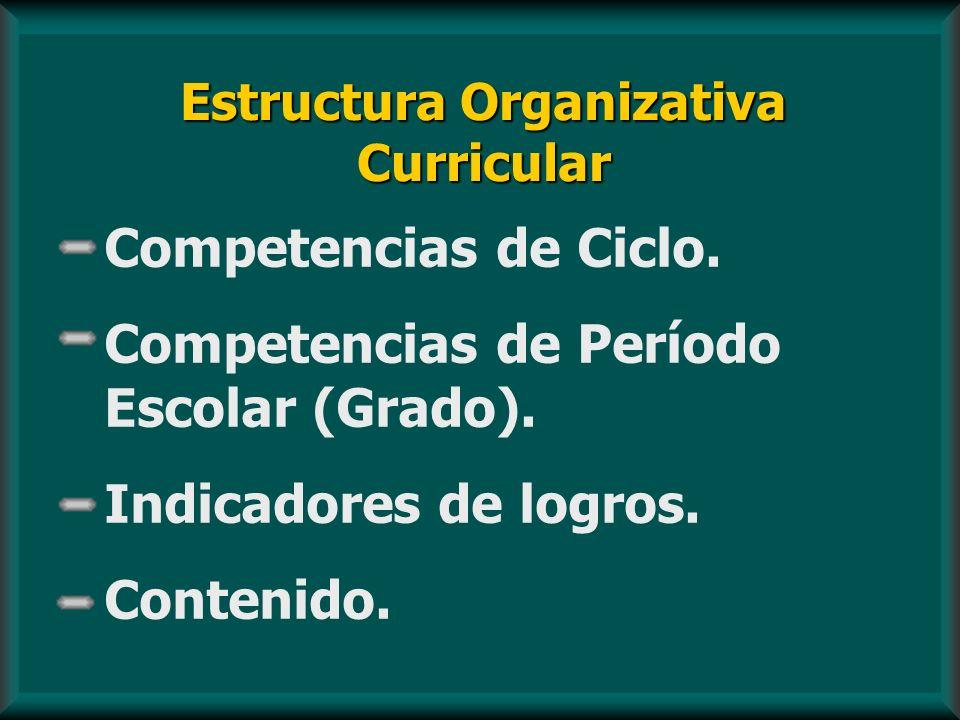 Estructura Organizativa Curricular Competencias de Ciclo. Competencias de Período Escolar (Grado). Indicadores de logros. Contenido.