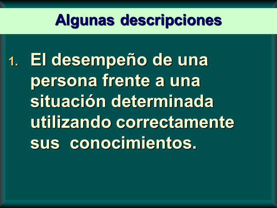 1. El desempeño de una persona frente a una situación determinada utilizando correctamente sus conocimientos. Algunas descripciones