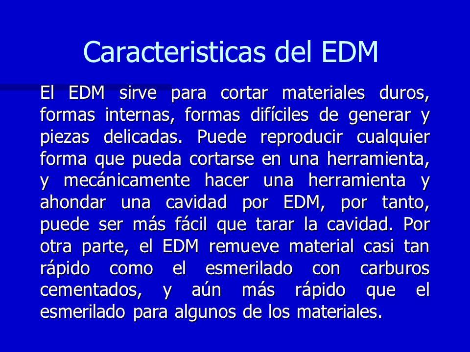 Caracteristicas del EDM El EDM sirve para cortar materiales duros, formas internas, formas difíciles de generar y piezas delicadas. Puede reproducir c