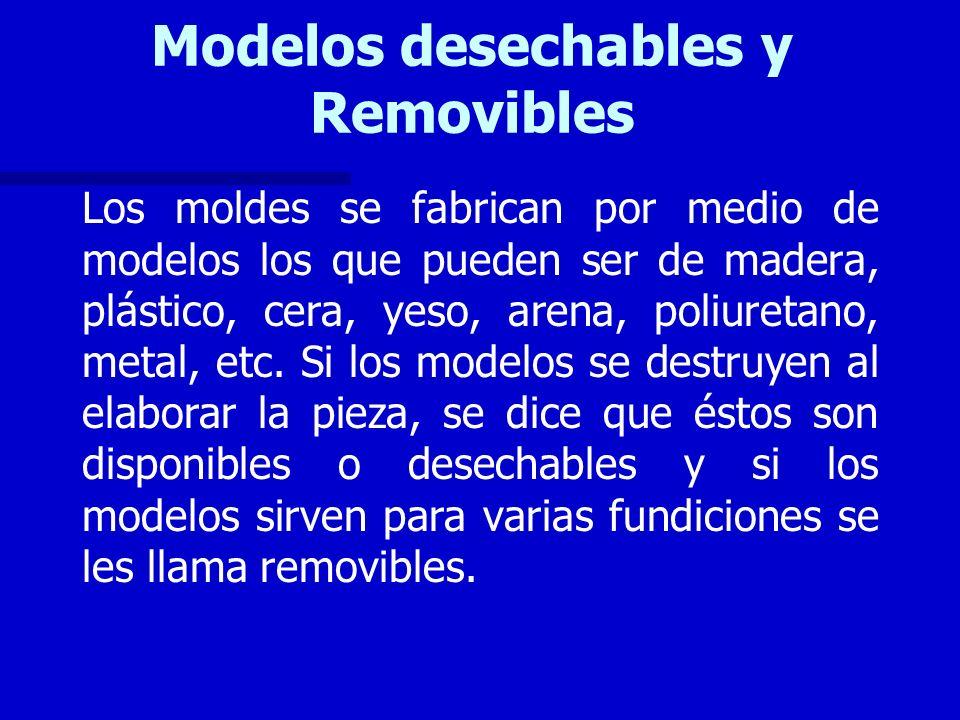 Modelos desechables y Removibles Los moldes se fabrican por medio de modelos los que pueden ser de madera, plástico, cera, yeso, arena, poliuretano, m