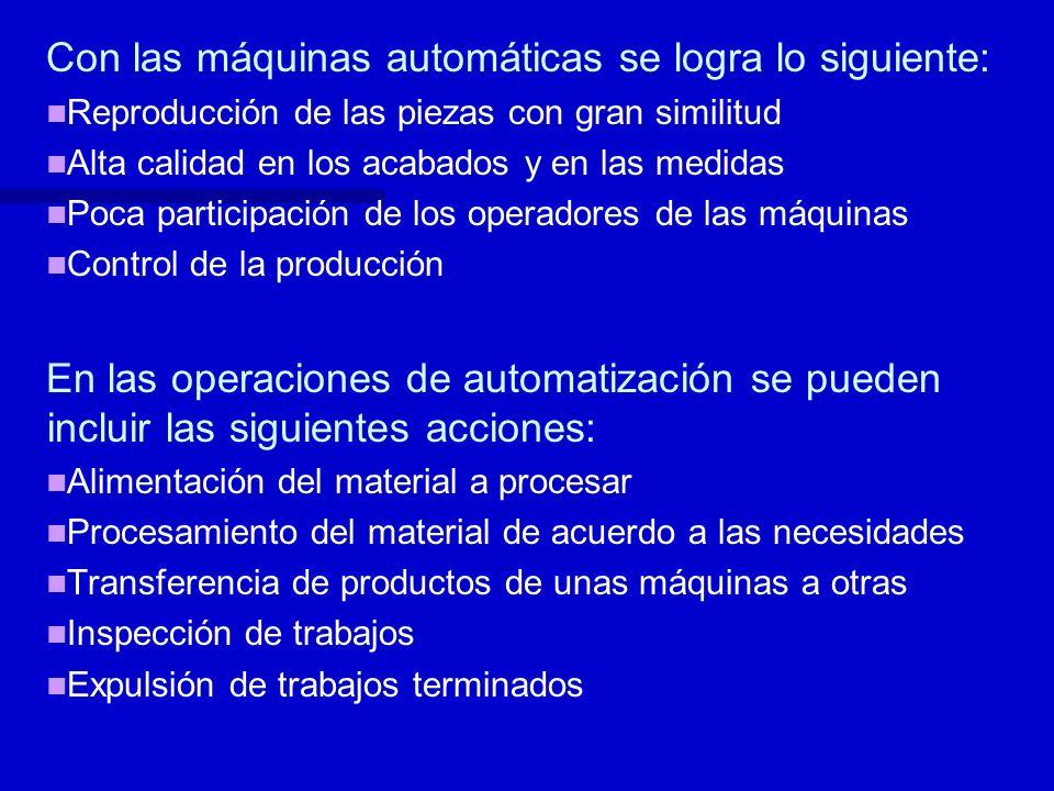 Con las máquinas automáticas se logra lo siguiente: Reproducción de las piezas con gran similitud Alta calidad en los acabados y en las medidas Poca p
