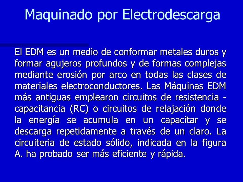 Maquinado por Electrodescarga El EDM es un medio de conformar metales duros y formar agujeros profundos y de formas complejas mediante erosión por arc