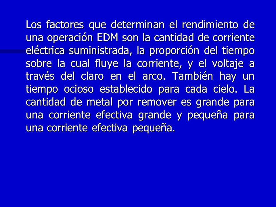 Los factores que determinan el rendimiento de una operación EDM son la cantidad de corriente eléctrica suministrada, la proporción del tiempo sobre la