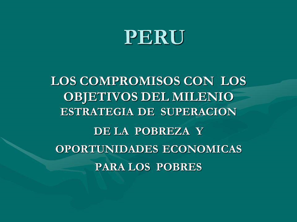 PERU LOS COMPROMISOS CON LOS OBJETIVOS DEL MILENIO ESTRATEGIA DE SUPERACION DE LA POBREZA Y OPORTUNIDADES ECONOMICAS PARA LOS POBRES
