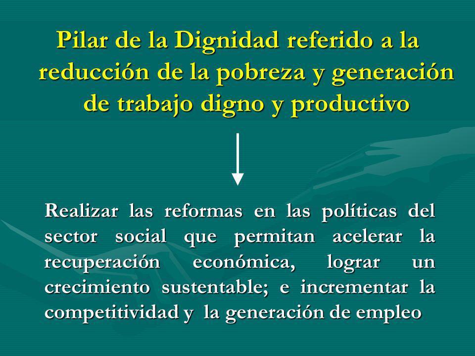 Realizar las reformas en las políticas del sector social que permitan acelerar la recuperación económica, lograr un crecimiento sustentable; e increme