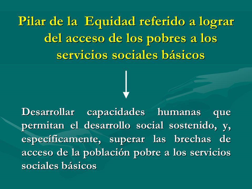 Desarrollar capacidades humanas que permitan el desarrollo social sostenido, y, específicamente, superar las brechas de acceso de la población pobre a