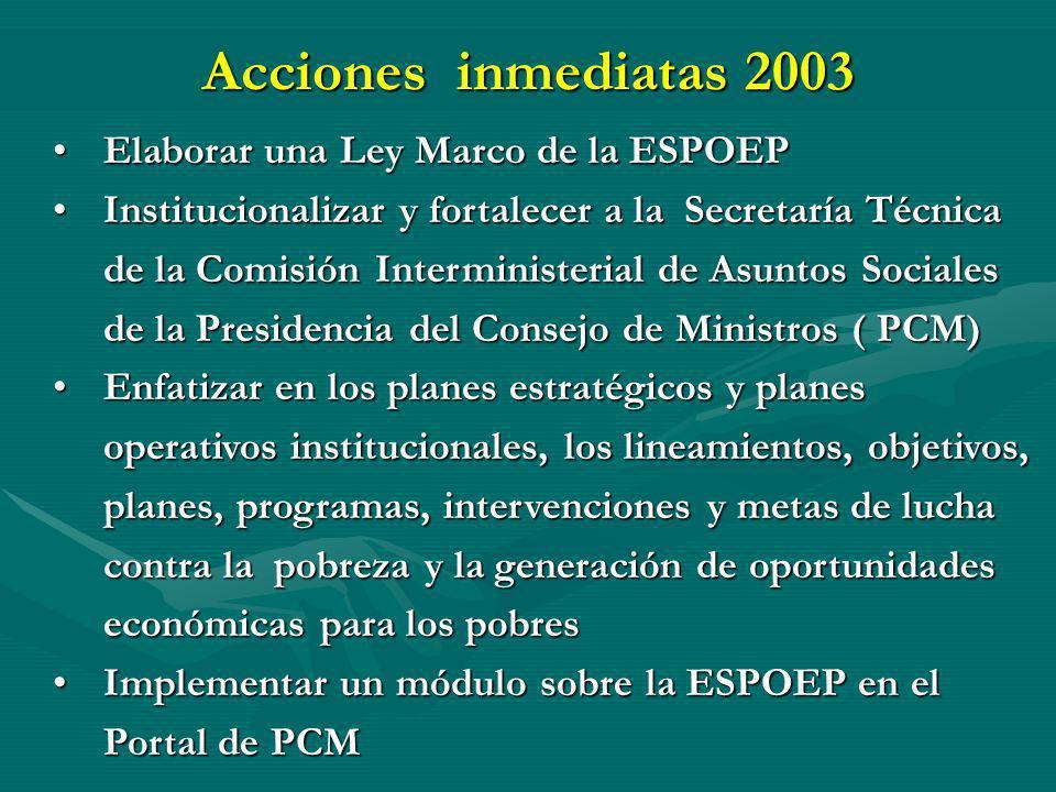 Acciones inmediatas 2003 Elaborar una Ley Marco de la ESPOEPElaborar una Ley Marco de la ESPOEP Institucionalizar y fortalecer a la Secretaría Técnica