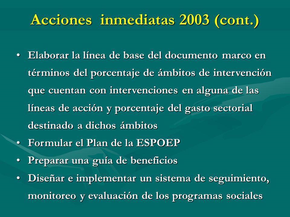 Acciones inmediatas 2003 (cont.) Elaborar la línea de base del documento marco en términos del porcentaje de ámbitos de intervención que cuentan con i