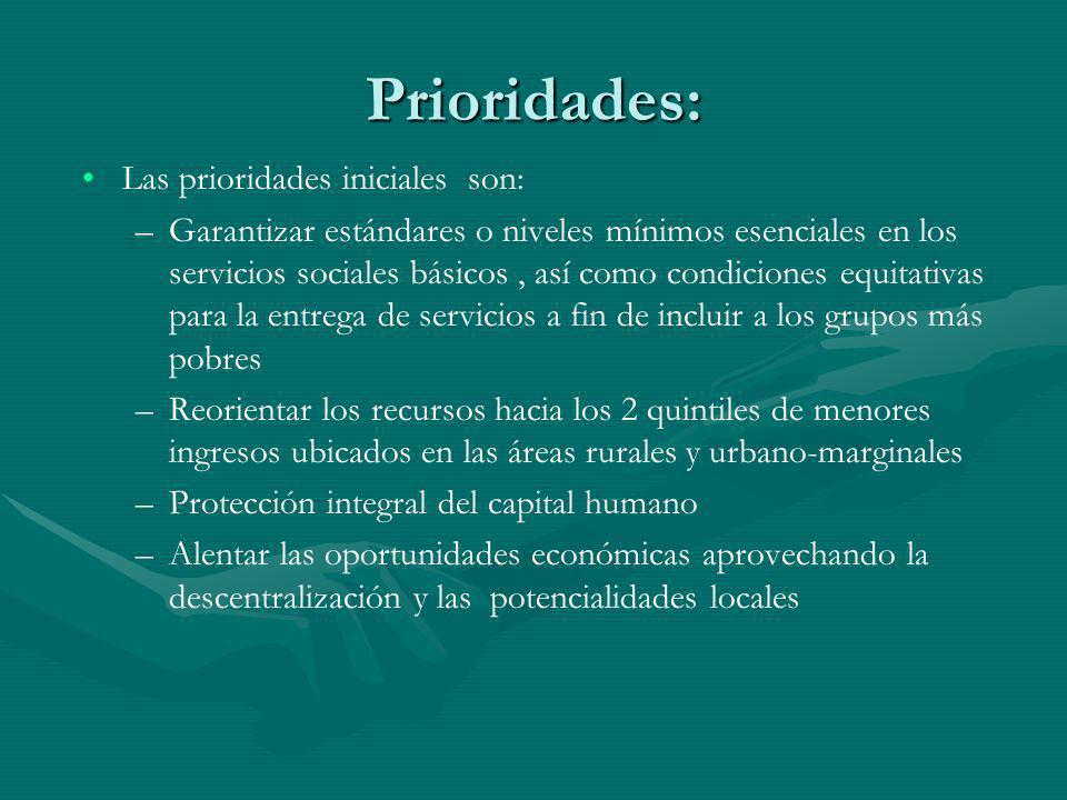 Prioridades: Las prioridades iniciales son: – –Garantizar estándares o niveles mínimos esenciales en los servicios sociales básicos, así como condicio