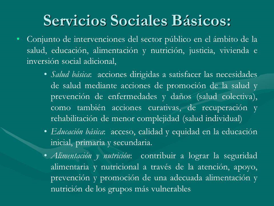 Servicios Sociales Básicos: Conjunto de intervenciones del sector público en el ámbito de la salud, educación, alimentación y nutrición, justicia, viv