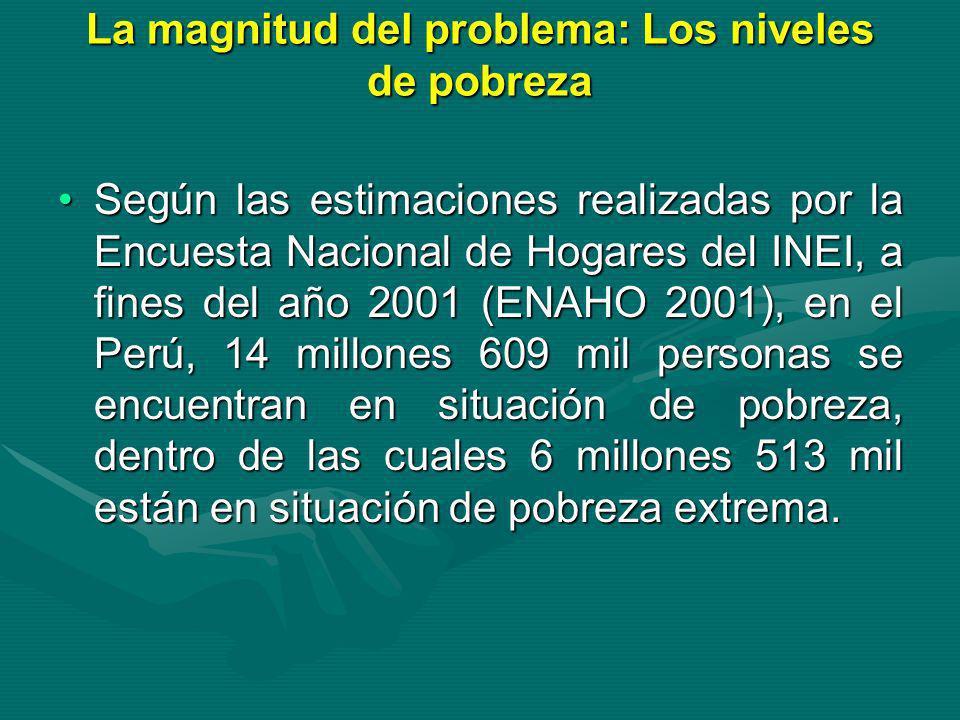 La magnitud del problema: Los niveles de pobreza Según las estimaciones realizadas por la Encuesta Nacional de Hogares del INEI, a fines del año 2001
