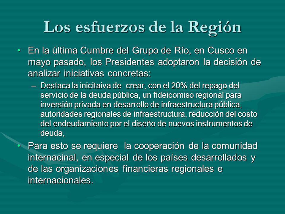 Los esfuerzos de la Región En la última Cumbre del Grupo de Río, en Cusco en mayo pasado, los Presidentes adoptaron la decisión de analizar iniciativa