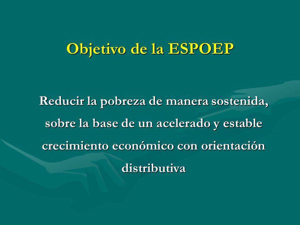 Reducir la pobreza de manera sostenida, sobre la base de un acelerado y estable crecimiento económico con orientación distributiva Objetivo de la ESPO