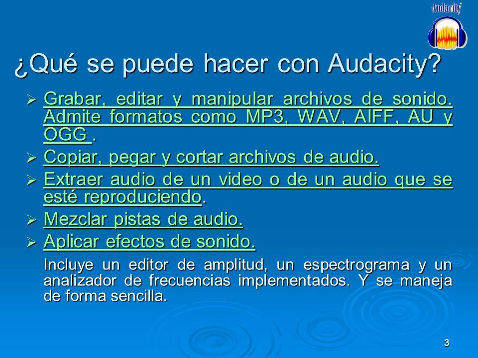 3 ¿Qué se puede hacer con Audacity? Grabar, editar y manipular archivos de sonido. Admite formatos como MP3, WAV, AIFF, AU y OGG. Grabar, editar y man