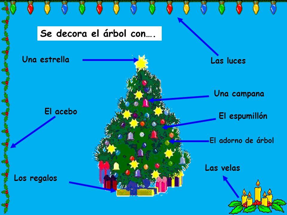 Se decora el árbol con…. El adorno de árbol Una estrella Los regalos Una campana Las luces Las velas El acebo El espumillón