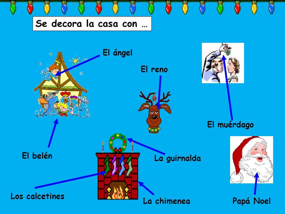 Se decora la casa con … La guirnalda La chimenea El belén Los calcetines El ángel El reno Papá Noel El muérdago
