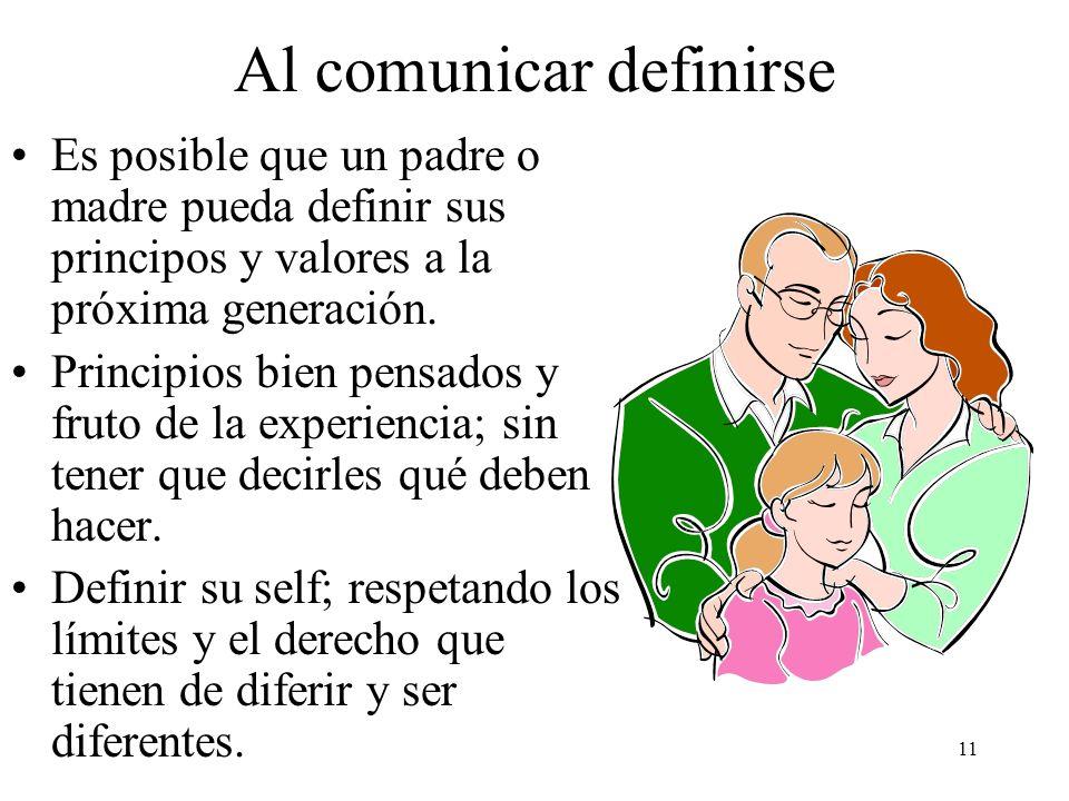 11 Al comunicar definirse Es posible que un padre o madre pueda definir sus principos y valores a la próxima generación. Principios bien pensados y fr