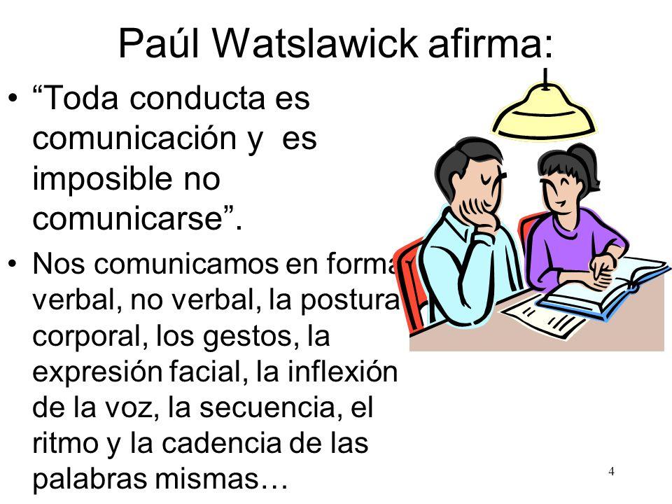 4 Paúl Watslawick afirma: Toda conducta es comunicación y es imposible no comunicarse. Nos comunicamos en forma verbal, no verbal, la postura corporal