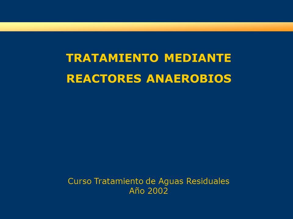 TRATAMIENTO MEDIANTE REACTORES ANAEROBIOS Curso Tratamiento de Aguas Residuales Año 2002
