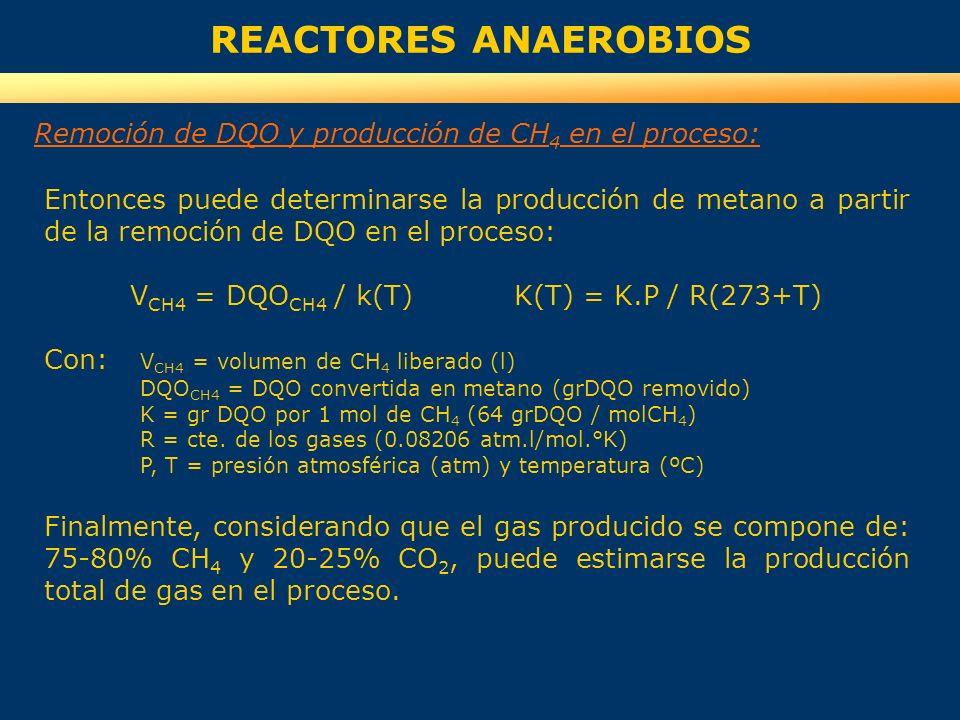 REACTORES ANAEROBIOS Remoción de DQO y producción de CH 4 en el proceso: Entonces puede determinarse la producción de metano a partir de la remoción d