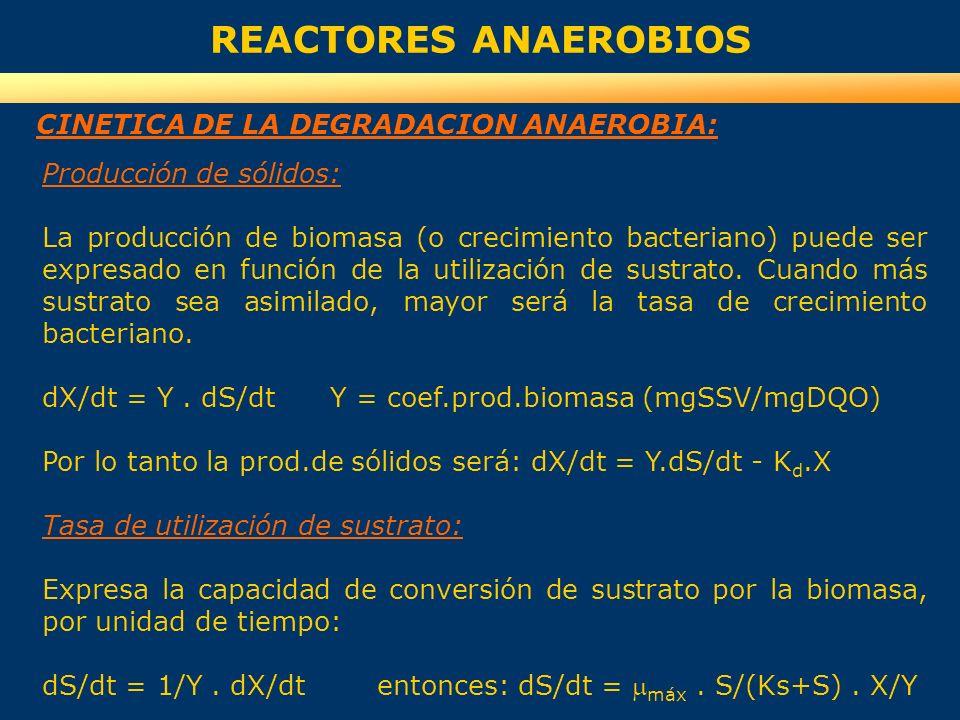 REACTORES ANAEROBIOS Producción de sólidos: La producción de biomasa (o crecimiento bacteriano) puede ser expresado en función de la utilización de su