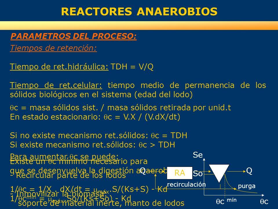 Tiempos de retención: Tiempo de ret.hidráulica: TDH = V/Q Tiempo de ret.celular: tiempo medio de permanencia de los sólidos biológicos en el sistema (