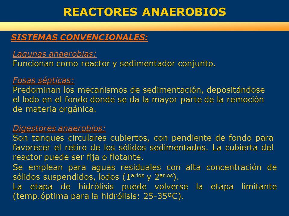 REACTORES ANAEROBIOS SISTEMAS CONVENCIONALES: Lagunas anaerobias: Funcionan como reactor y sedimentador conjunto. Fosas sépticas: Predominan los mecan