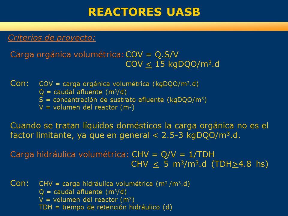 REACTORES UASB Carga orgánica volumétrica:COV = Q.S/V COV < 15 kgDQO/m 3.d Con: COV = carga orgánica volumétrica (kgDQO/m 3.d) Q = caudal afluente (m