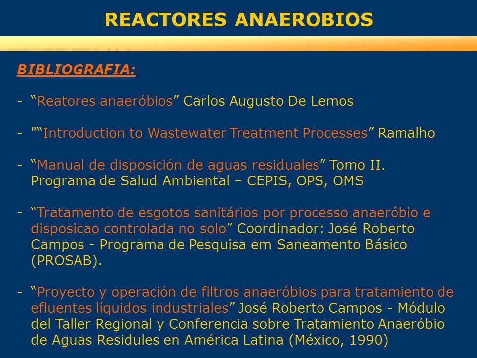 BIBLIOGRAFIA: -Reatores anaeróbios Carlos Augusto De Lemos -