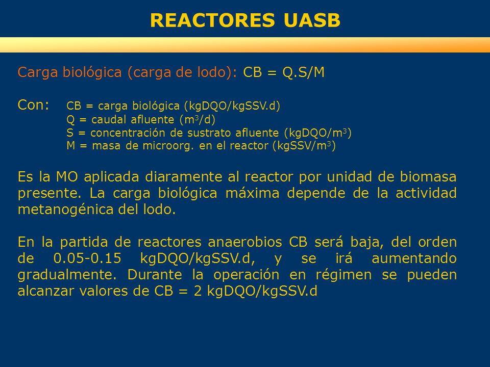 REACTORES UASB Carga biológica (carga de lodo): CB = Q.S/M Con: CB = carga biológica (kgDQO/kgSSV.d) Q = caudal afluente (m 3 /d) S = concentración de