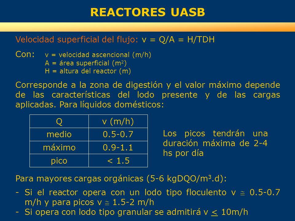 REACTORES UASB Qv (m/h) medio máximo pico 0.5-0.7 0.9-1.1 < 1.5 Los picos tendrán una duración máxima de 2-4 hs por día Para mayores cargas orgánicas