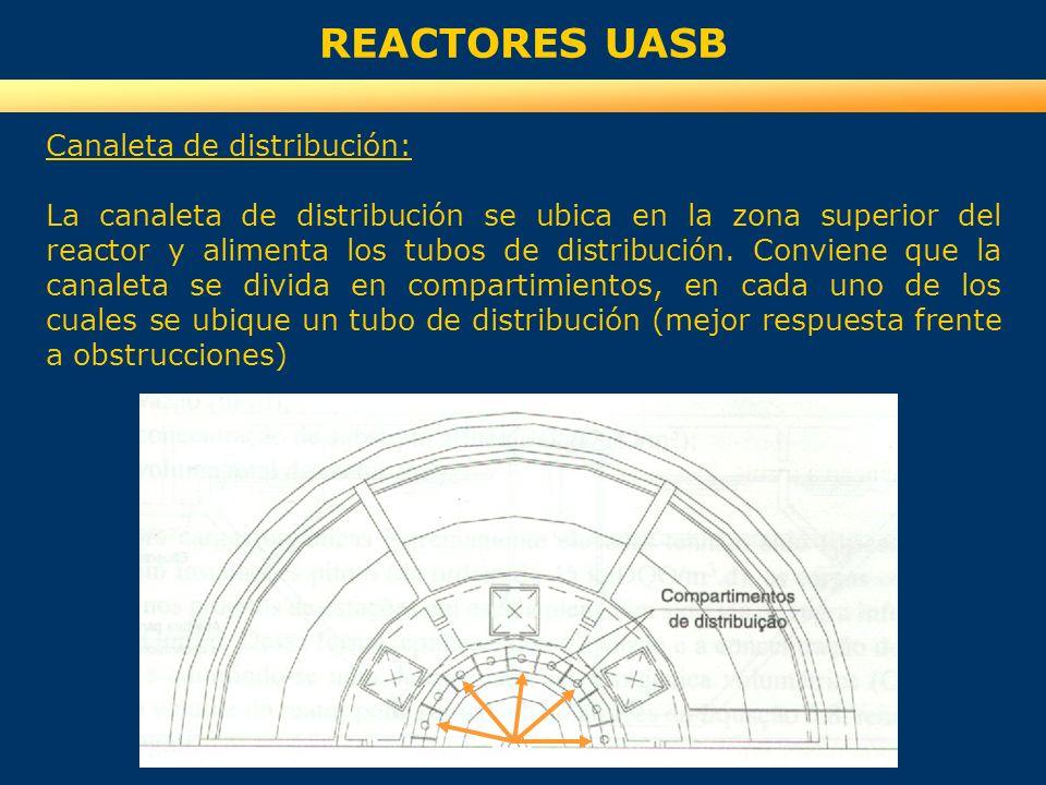REACTORES UASB Canaleta de distribución: La canaleta de distribución se ubica en la zona superior del reactor y alimenta los tubos de distribución. Co