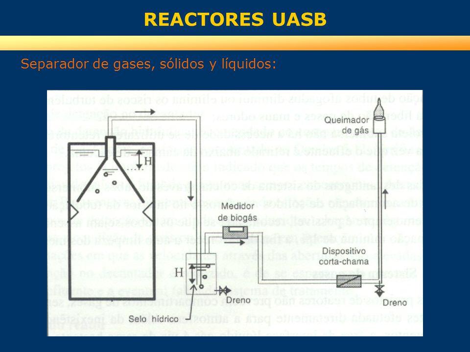 REACTORES UASB Separador de gases, sólidos y líquidos: Separación de gases: Las dimensiones deben ser tales que permitan la formación de un área de in