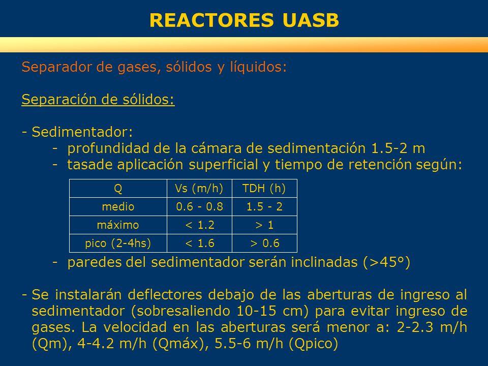 REACTORES UASB Separador de gases, sólidos y líquidos: Separación de sólidos: -Sedimentador: -profundidad de la cámara de sedimentación 1.5-2 m -tasad