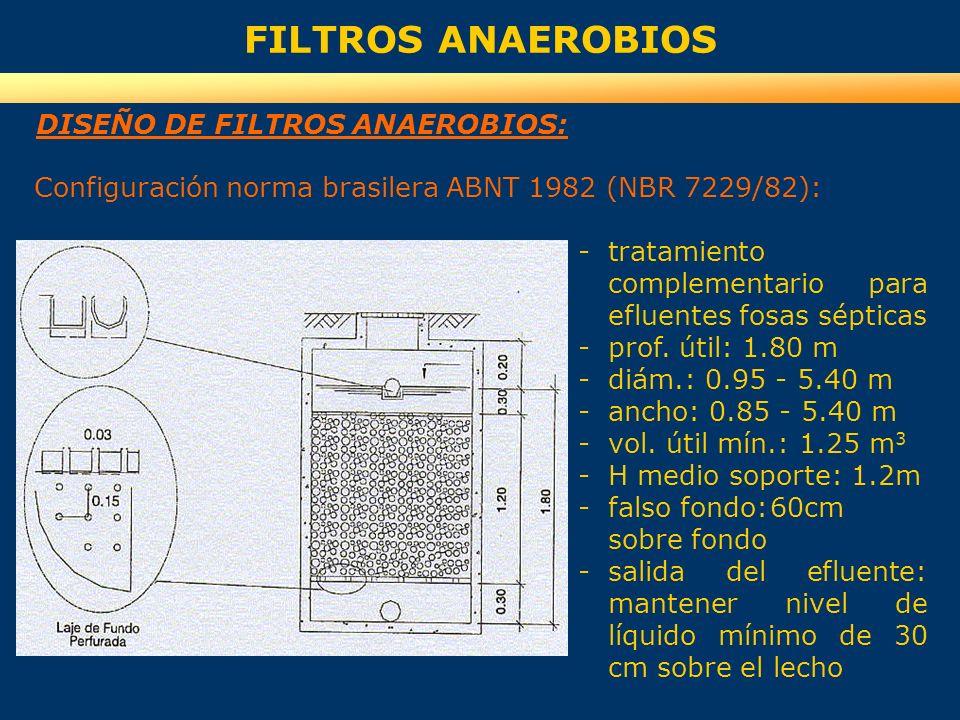 FILTROS ANAEROBIOS DISEÑO DE FILTROS ANAEROBIOS: -tratamiento complementario para efluentes fosas sépticas -prof. útil: 1.80 m -diám.: 0.95 - 5.40 m -