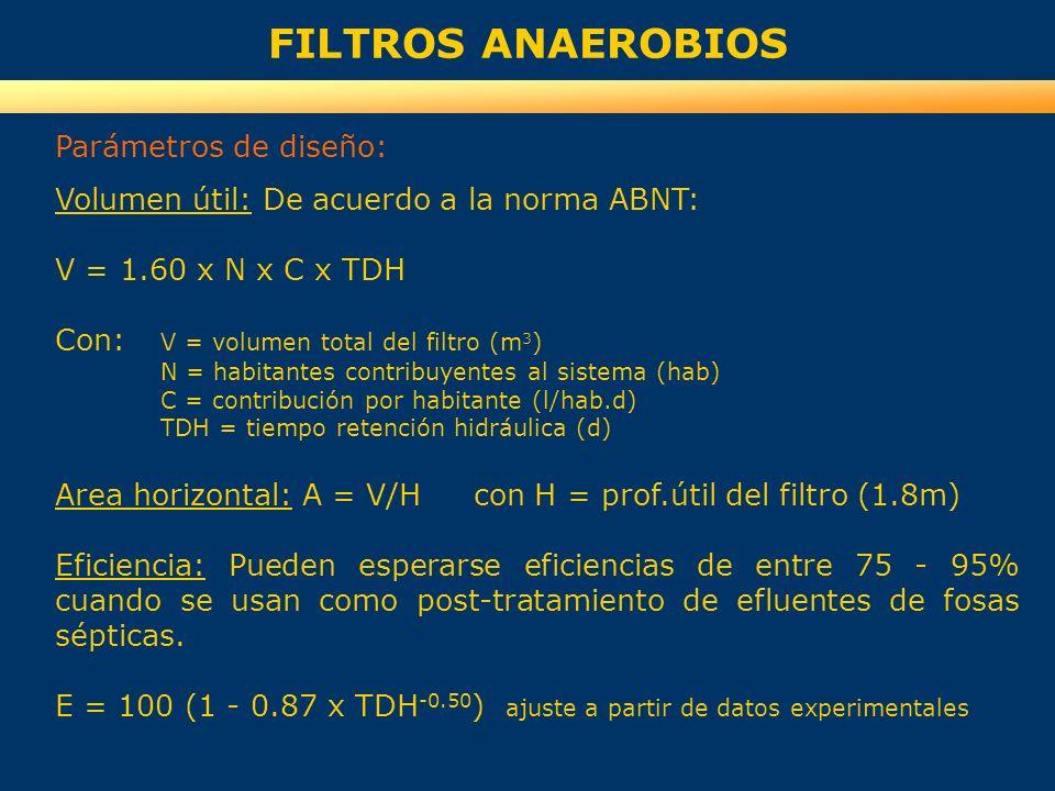 FILTROS ANAEROBIOS Parámetros de diseño: Volumen útil: De acuerdo a la norma ABNT: V = 1.60 x N x C x TDH Con: V = volumen total del filtro (m 3 ) N =
