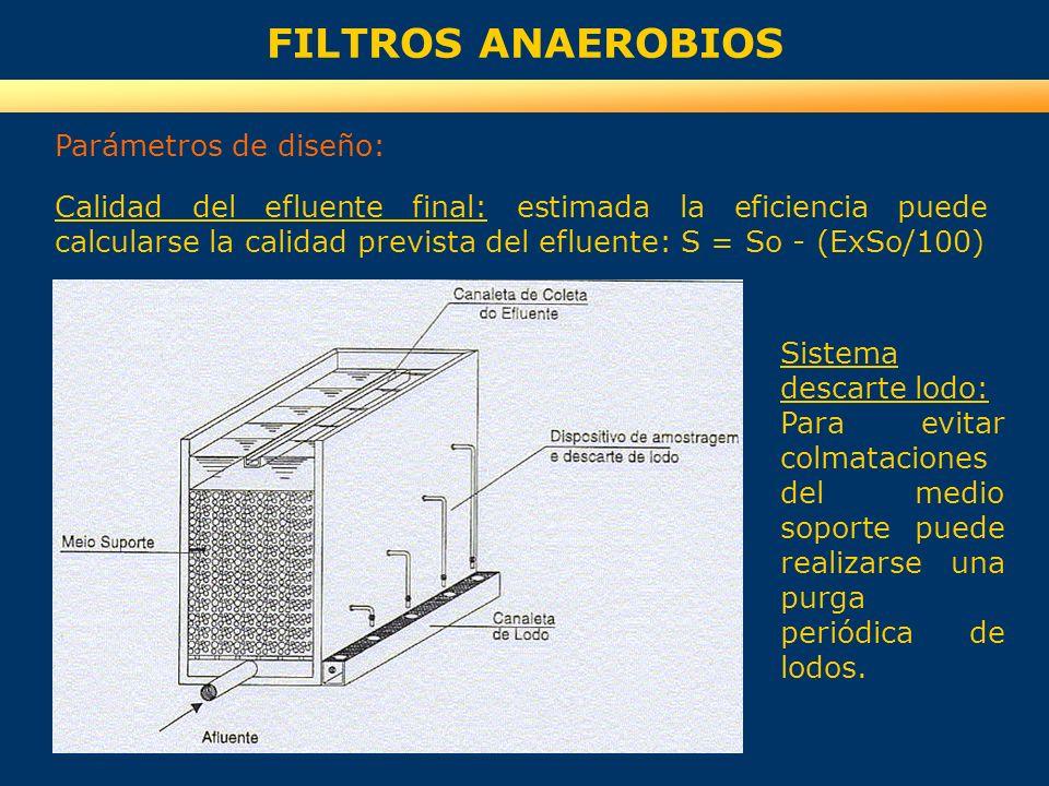 FILTROS ANAEROBIOS Parámetros de diseño: Calidad del efluente final: estimada la eficiencia puede calcularse la calidad prevista del efluente: S = So