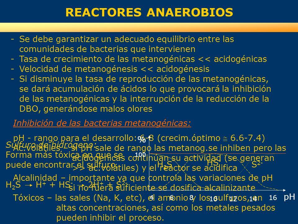 REACTORES ANAEROBIOS -Se debe garantizar un adecuado equilibrio entre las comunidades de bacterias que intervienen -Tasa de crecimiento de las metanog