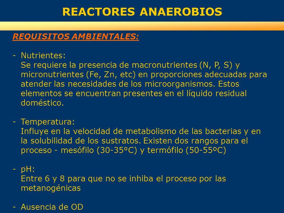 REACTORES ANAEROBIOS REQUISITOS AMBIENTALES: -Nutrientes: Se requiere la presencia de macronutrientes (N, P, S) y micronutrientes (Fe, Zn, etc) en pro