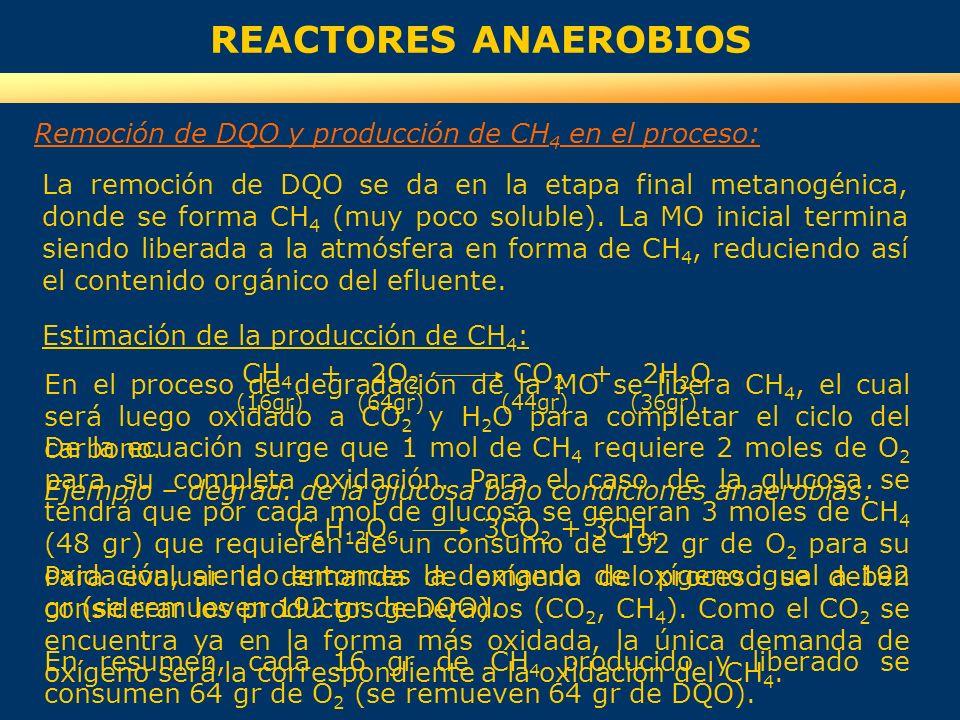 REACTORES ANAEROBIOS La remoción de DQO se da en la etapa final metanogénica, donde se forma CH 4 (muy poco soluble). La MO inicial termina siendo lib