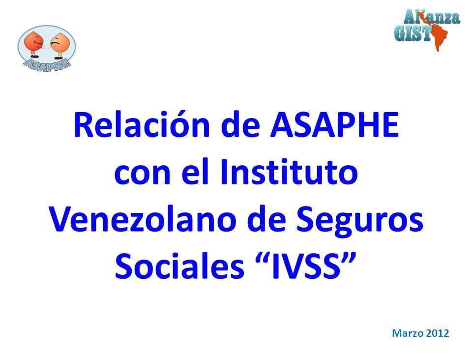 Relación de ASAPHE con el Instituto Venezolano de Seguros Sociales IVSS Marzo 2012