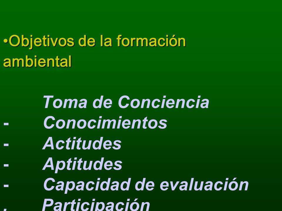 Objetivos de la formación ambientalObjetivos de la formación ambiental Toma de Conciencia - Conocimientos - Actitudes - Aptitudes - Capacidad de evalu