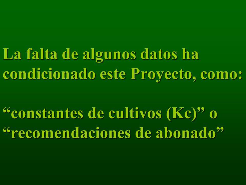 La falta de algunos datos ha condicionado este Proyecto, como: constantes de cultivos (Kc) o recomendaciones de abonado