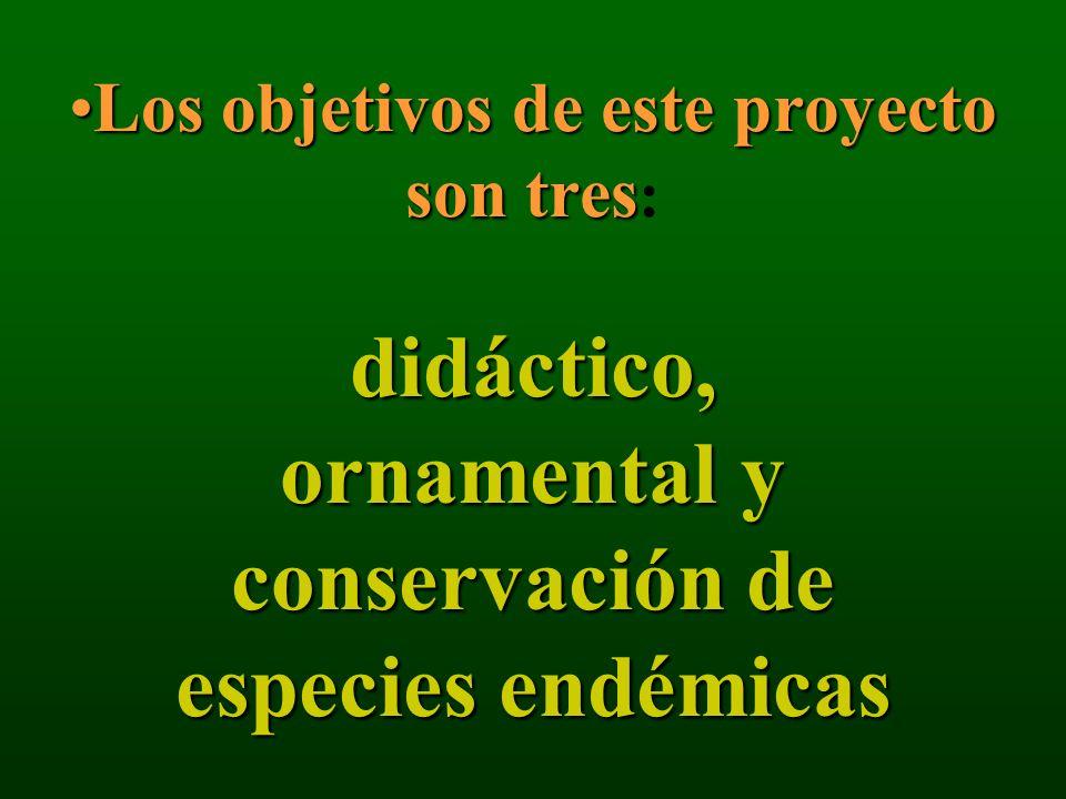 Los objetivos de este proyecto son tres didáctico, ornamental y conservación de especies endémicasLos objetivos de este proyecto son tres : didáctico,