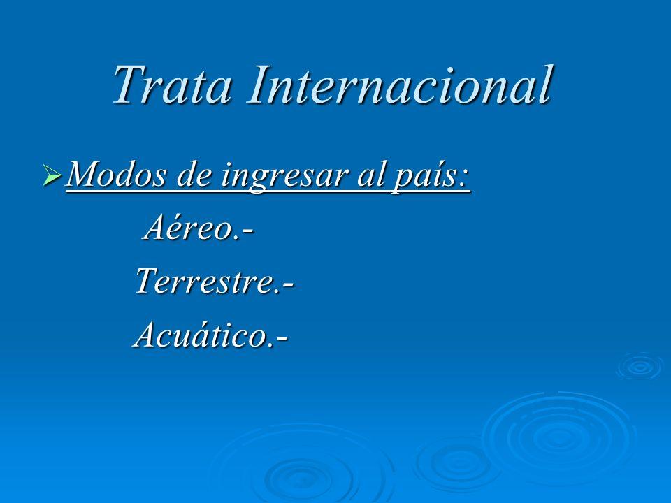 Trata Internacional Modos de ingresar al país: Modos de ingresar al país: Aéreo.- Aéreo.- Terrestre.- Terrestre.- Acuático.- Acuático.-