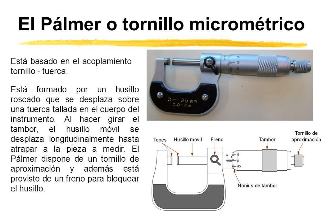 El Pálmer o tornillo micrométrico Está basado en el acoplamiento tornillo - tuerca. Está formado por un husillo roscado que se desplaza sobre una tuer