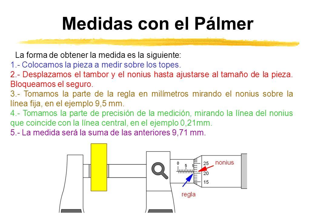 Medidas con el Pálmer La forma de obtener la medida es la siguiente: 1.- Colocamos la pieza a medir sobre los topes. 2.- Desplazamos el tambor y el no